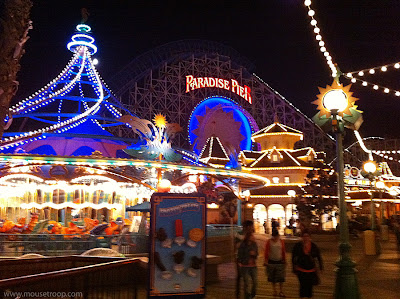 Paradise Pier Disney California Adventure Screamin Disneyland night