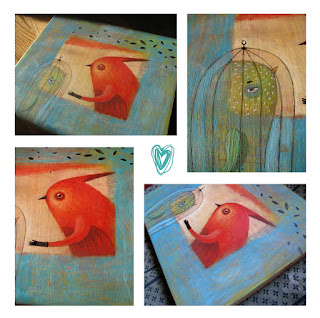 Valentine's Day, love, szerelem, festmény, looking for love, bird painting, cage, Valentine gift