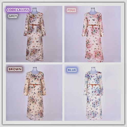 Butterfly DRESS - warna available GREY, BIRU, BROWN