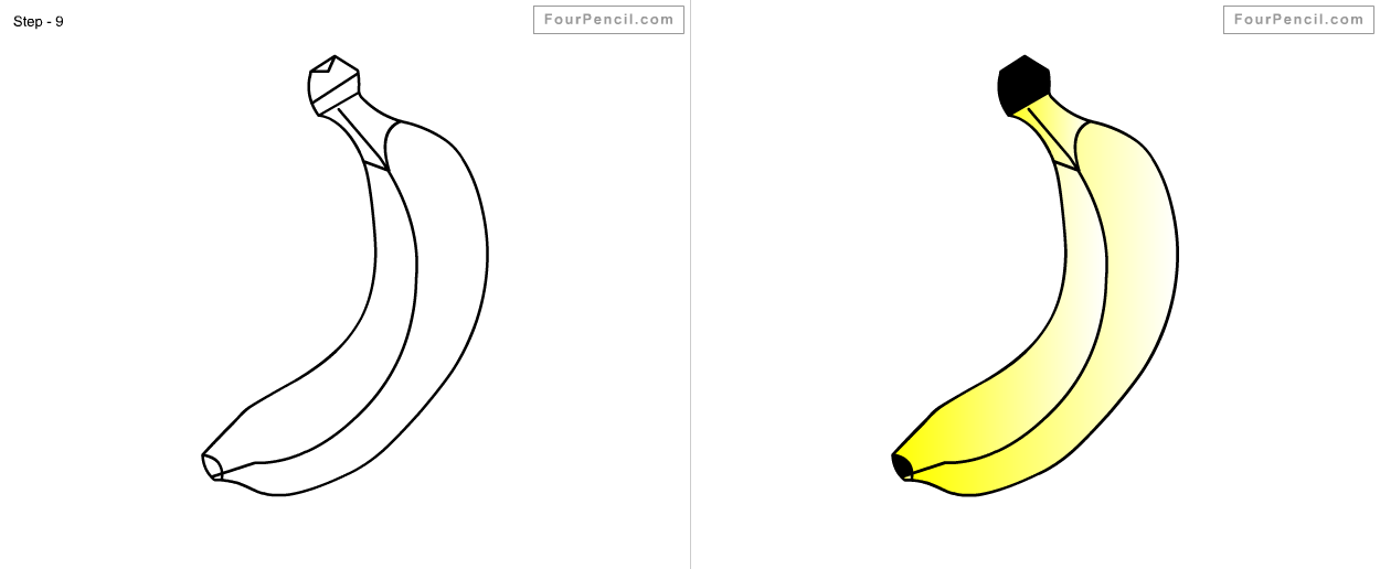 Fpencil How To Draw Banana For Kids Step By Step