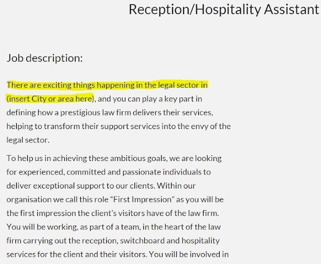 Reception/hospitality assistant job advert using template