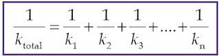 persamaan konstanta total pegas yang disusun seri