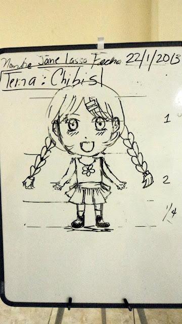 Imagen en el tablero del curso, cómo dibujar chibis.