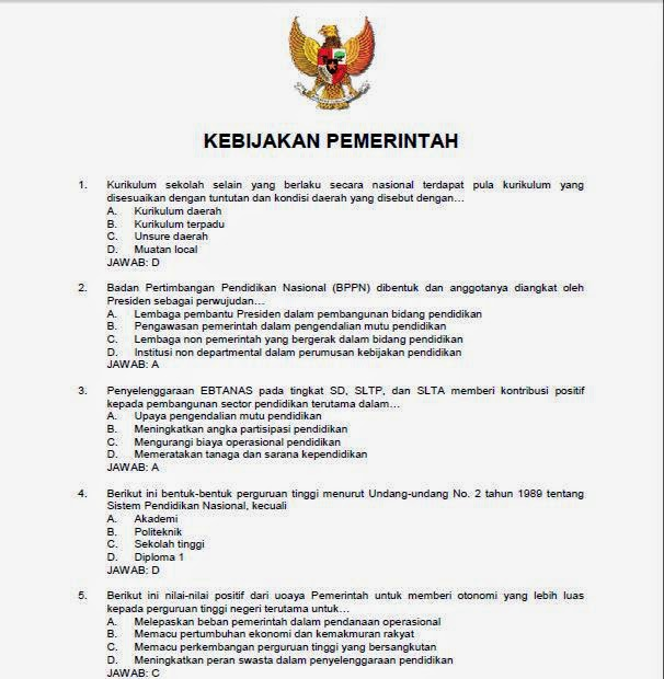 Download Soal Kebijakan Pemerintah dan Jawaban