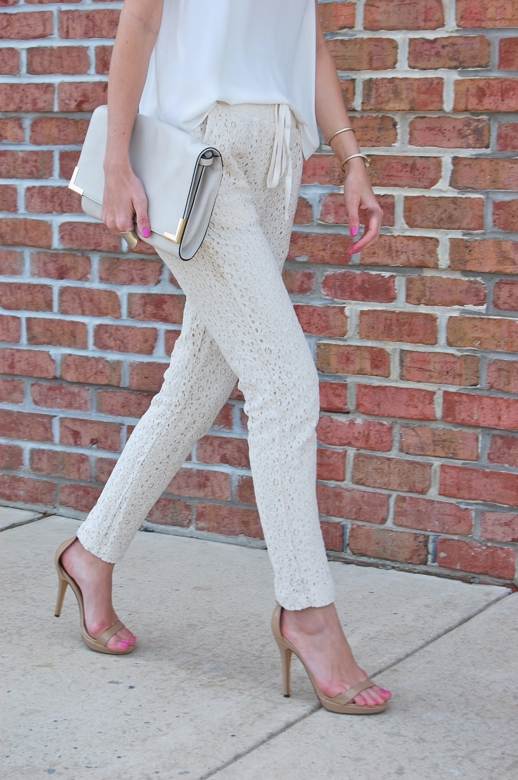 Wearing Loft Lou & Grey lace drawstring pants, Michael Antonio Lovina sandal, Bcbg Maxazria cat eye sunglasses