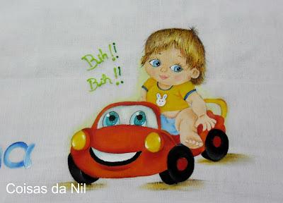 """""""fralda pintada com menino em carrinho vermelho"""""""
