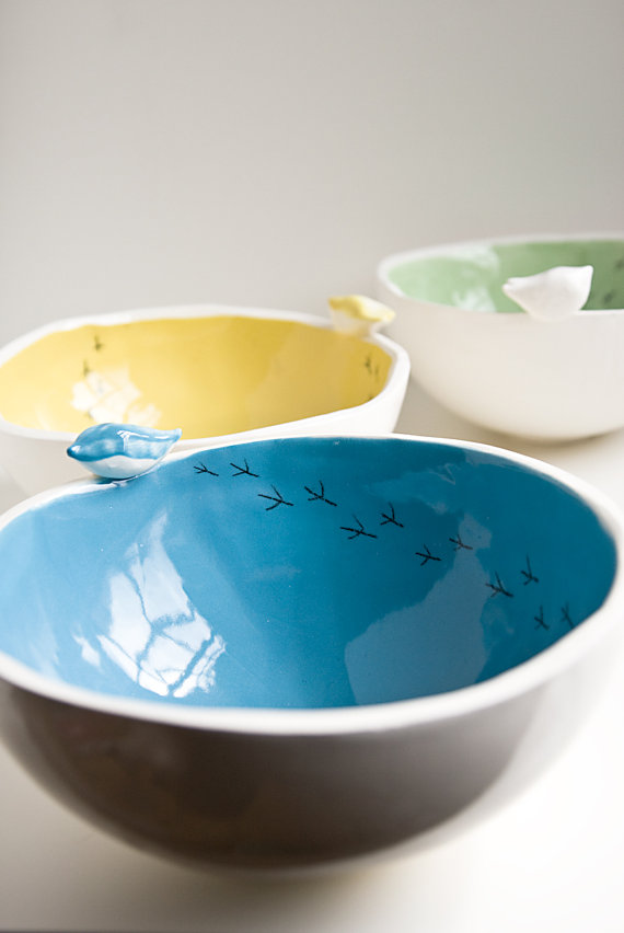 Ceramic birdy bowl by karoArt