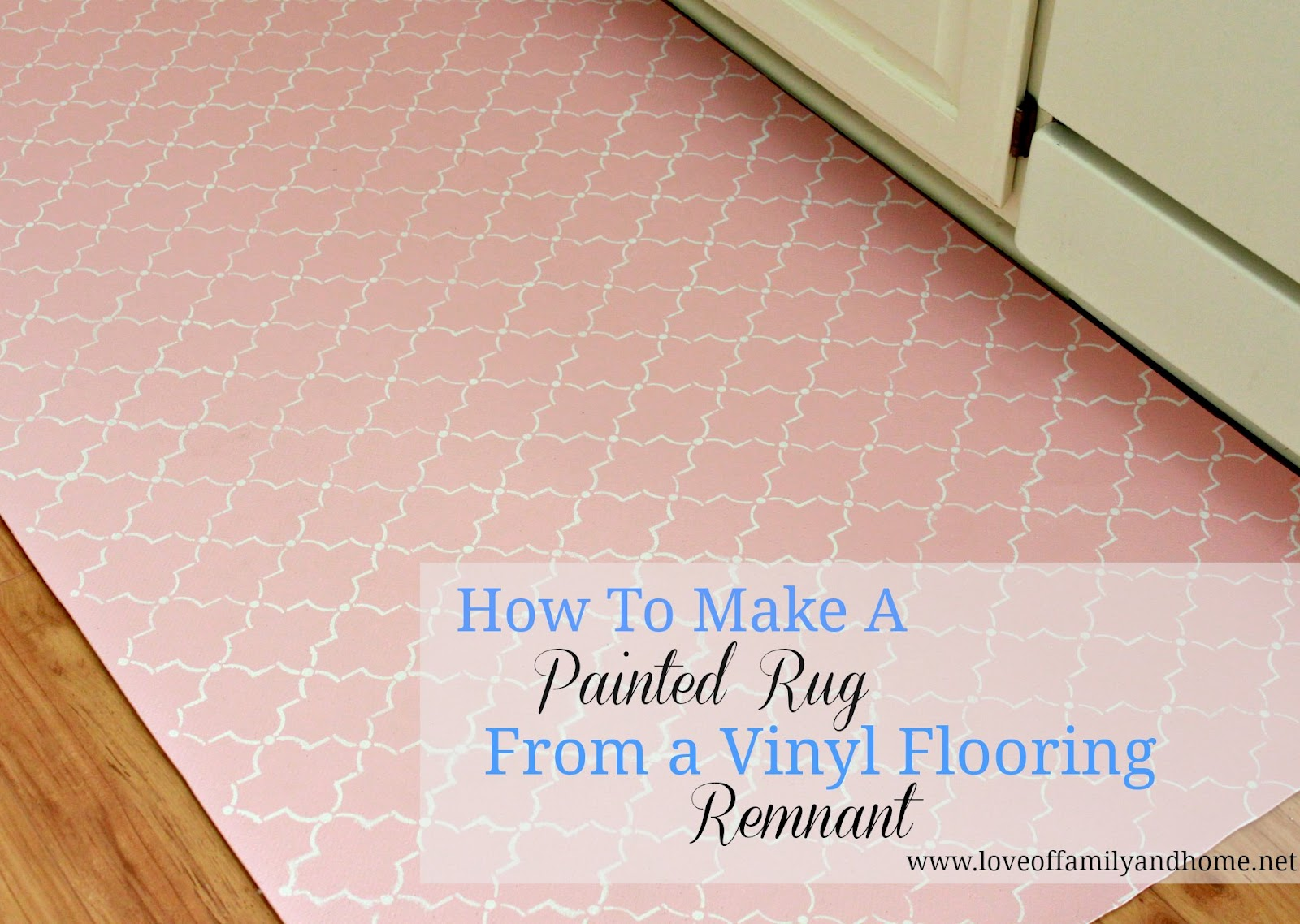 How to paint a rug using vinyl flooring love of for Painted vinyl floor ideas
