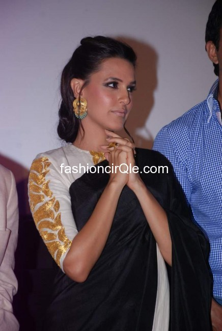 Neha dhupia close up and she is wearing some very pretty earings -  Neha Dhupia at Maximum Film Music launch