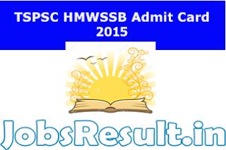 TSPSC HMWSSB Admit Card 2015