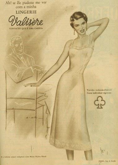 Propaganda dos anos 50 da Lingerie Valisère: uma mulher deseja que seu homem a visse com a roupa.