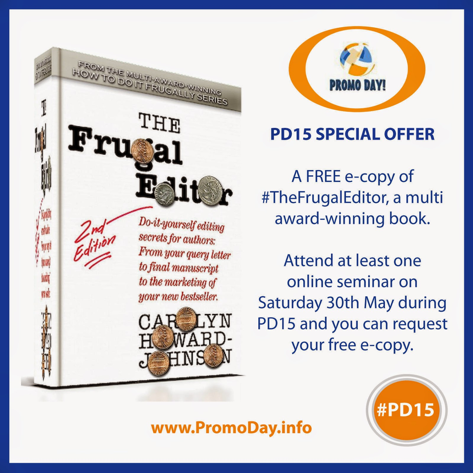 Attend #PD15 and get a FREE e-copy of a multi award-winning book by @frugalbookpromo