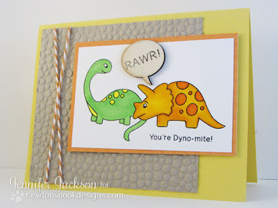 Dinosaur Card Stamped by Newton's Nook Designs