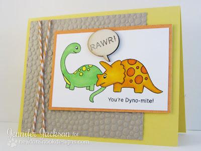 Dinosaur Card Stamped by Newton's Nook Designs