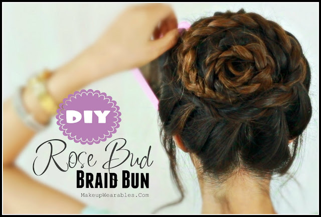 Rose Bud, Flower Braid Bun Updo Hairstyles for Medium Long Hair Tutorial Video