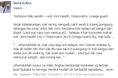 AJHT, advanced joint health tablet, sendi, Ostematrix, Omega Guard, sakit belakang, sakit lutut, sendi sihat, sendi tidak sihat,