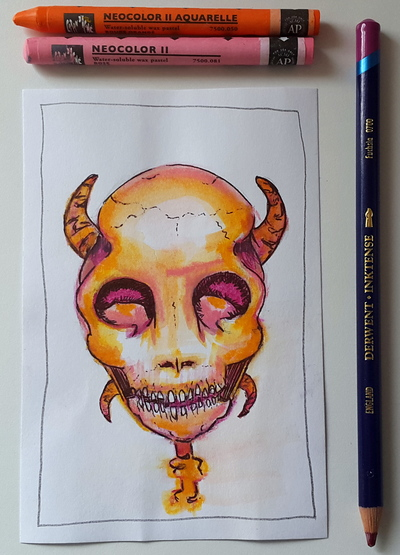 Whoopidooings: Carmen Wing - Summer of Colour week 2 - Skull, Devil - mixed media