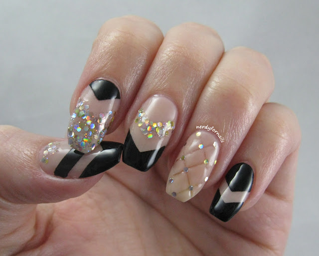 Quilted Nails with Chevrons and Glitter + Nina Ultra Pro Polish & Nail Vinyls