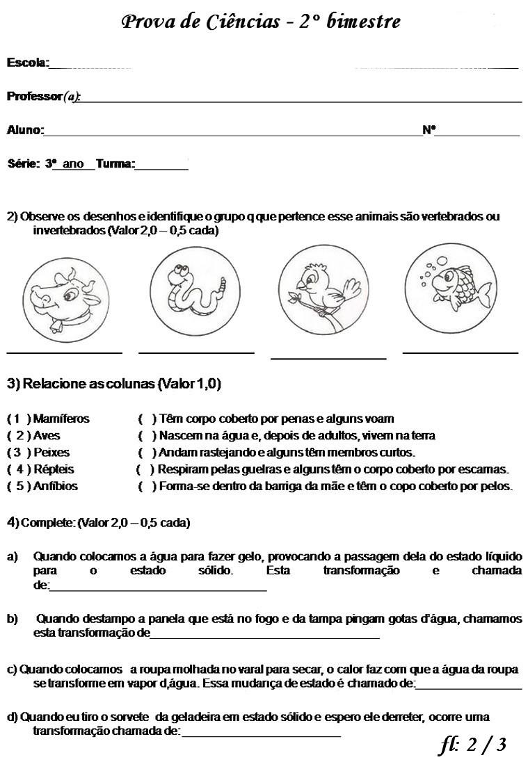PROVA DE CI  NCIAS 3   ANO FUNDAMENTAL 2   BIMESTRE