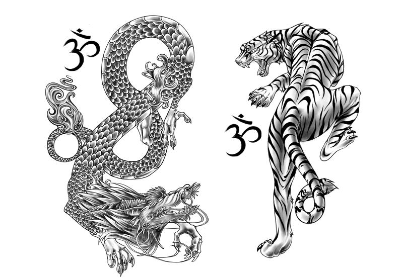 Ideas para tu tattoo: Tigre y dragón en blanco y negro