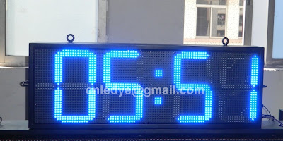 outdoor blue led clock, large led clock bright