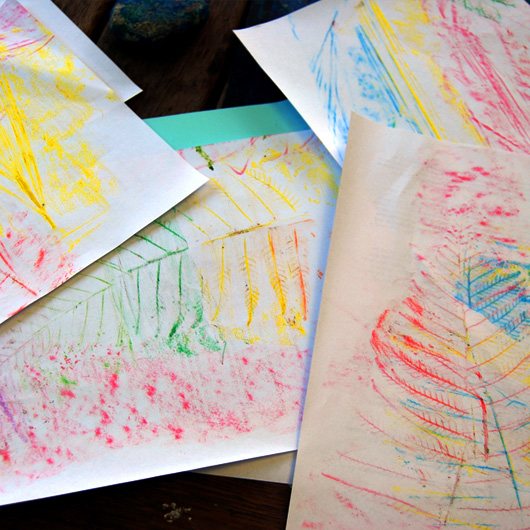 Leaf and surface rubbings with kids