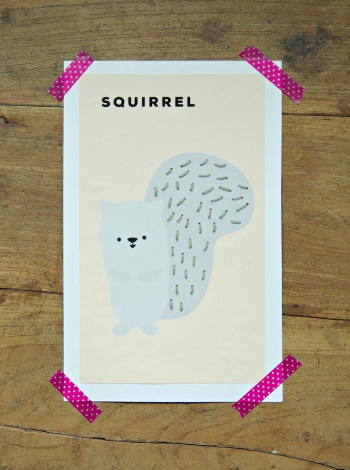 ommeltu kortti orava