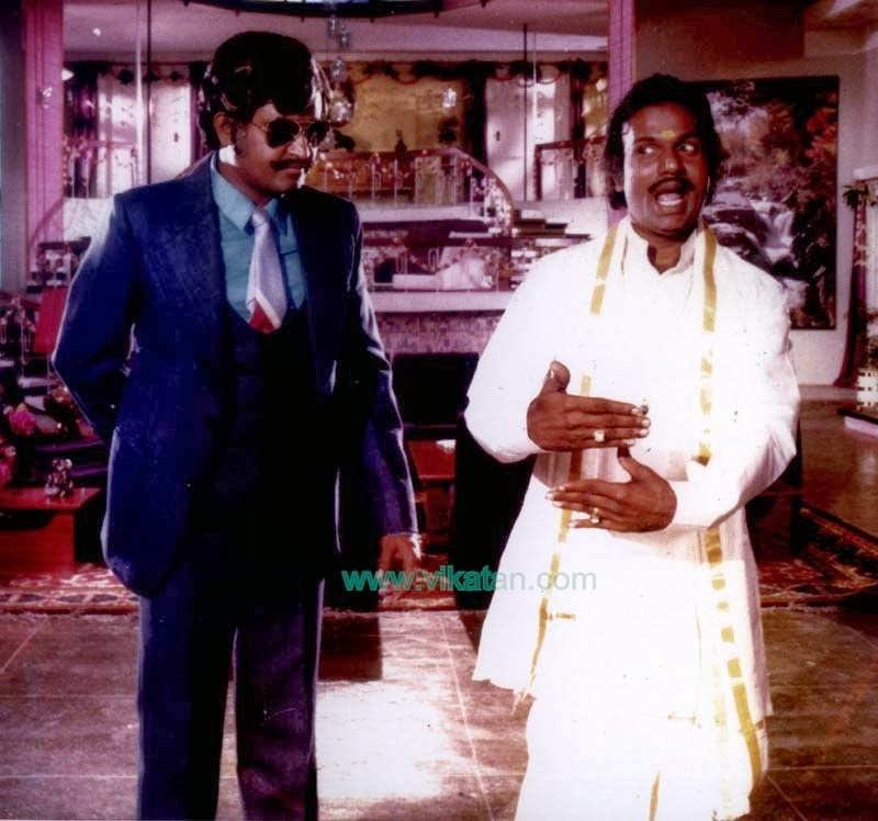 Rajinikanth & Goundamani in 'Netrikkan' (1981) Tamil Movie