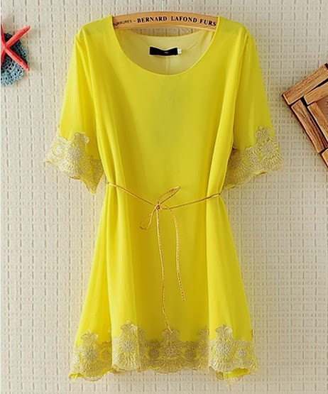 Yellow Dress With Embroided Chiffon Lace