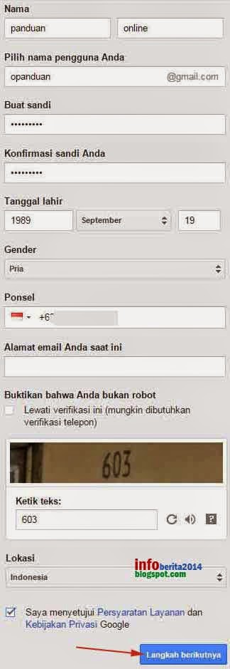 form pendaftaran akun gmail baru