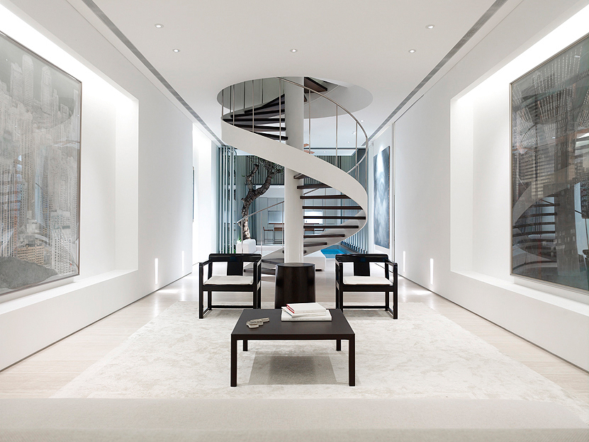 Picture Of White Narrow Interior With Spiral Staircase. Spiral Staircase In  The Minimalist House ...