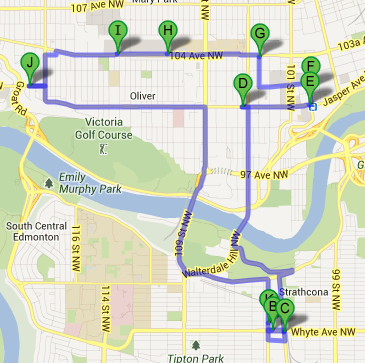 Mathematically optimized Edmonton Pubcrawl