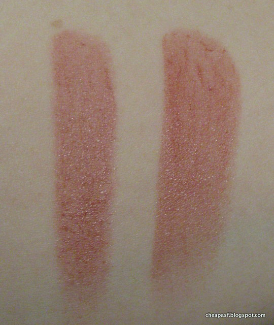 Swatches of Revlon Balm Stain in Honey (left) and Revlon Lip Butter in Pink Truffle (right)