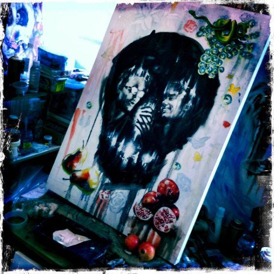 tom french pinturas caveiras ilusões de ótica