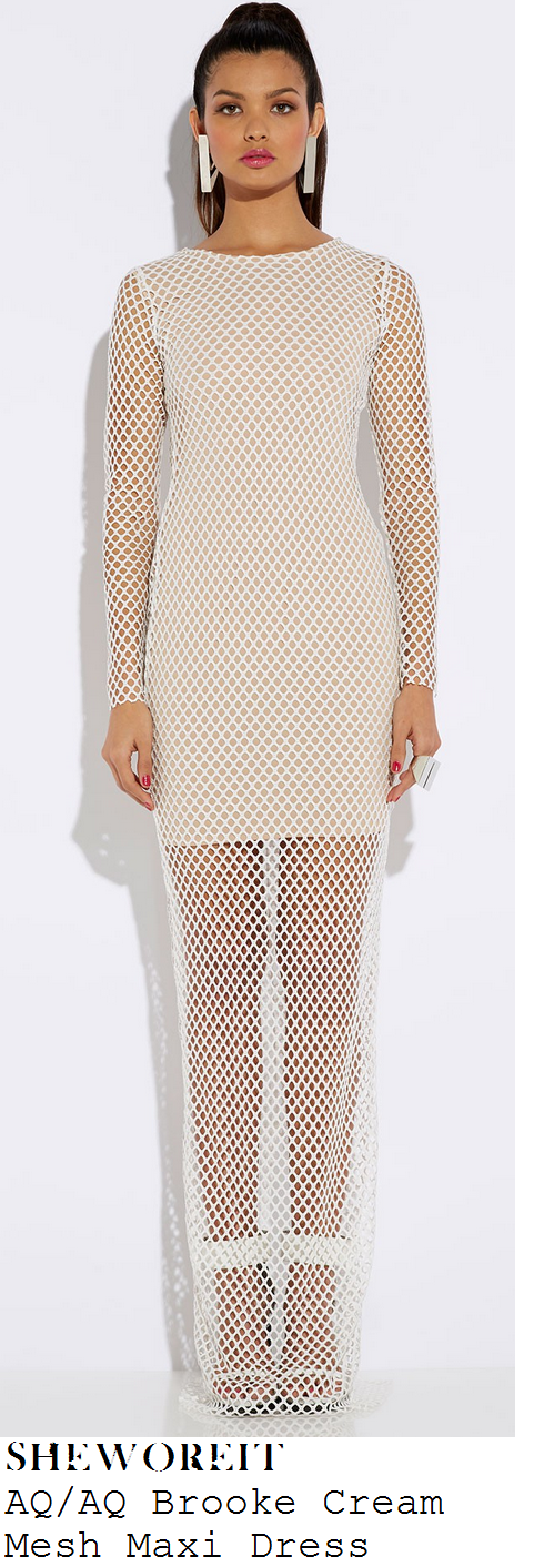 lauren-pope-cream-nude-long-sleeve-mesh-fishnet-maxi-dress-with-mini-dress-underlay-attitude-sexiest-men