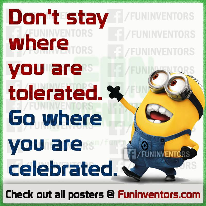 Go where you are celebrated – not tolerated.