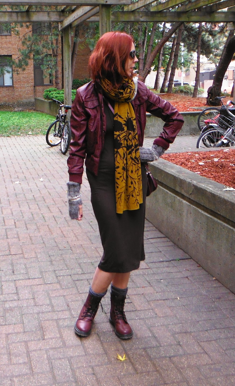 fashion outfit burgundy leather bomber jacket from Marshalls, H and M tank dress, Guess purse, boots from Urban planet, bright green scarf, hand knitted arm warmers, styled by melanie.p.s for the purple scarf.