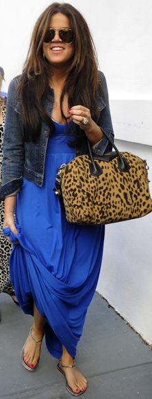 Khloe Kardashian denim jacket, maxi and denim