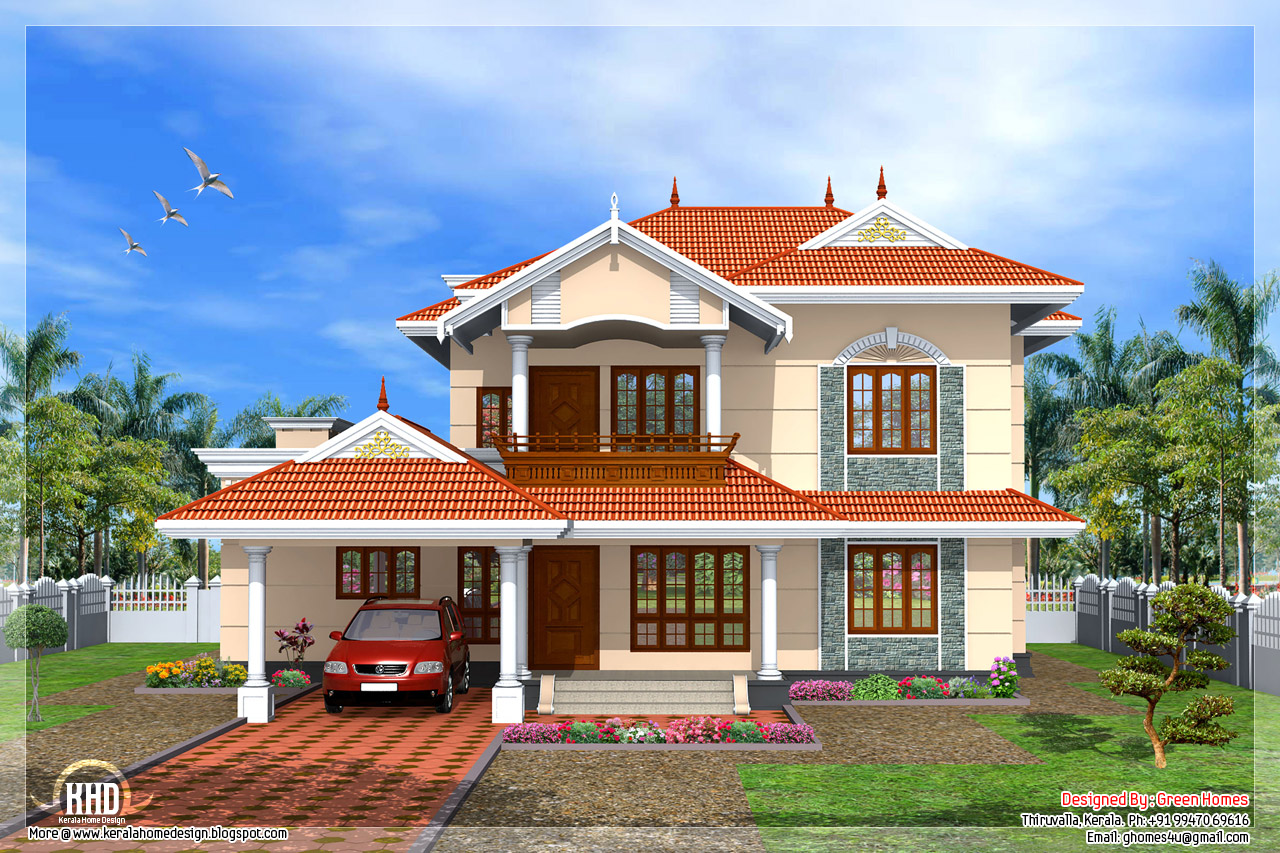 Kerala style 4 bedroom home design kerala home design for Kerala style garden designs