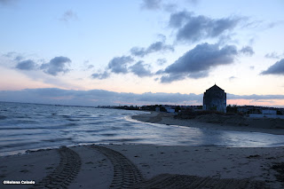 Fotografa da praia no Tejo