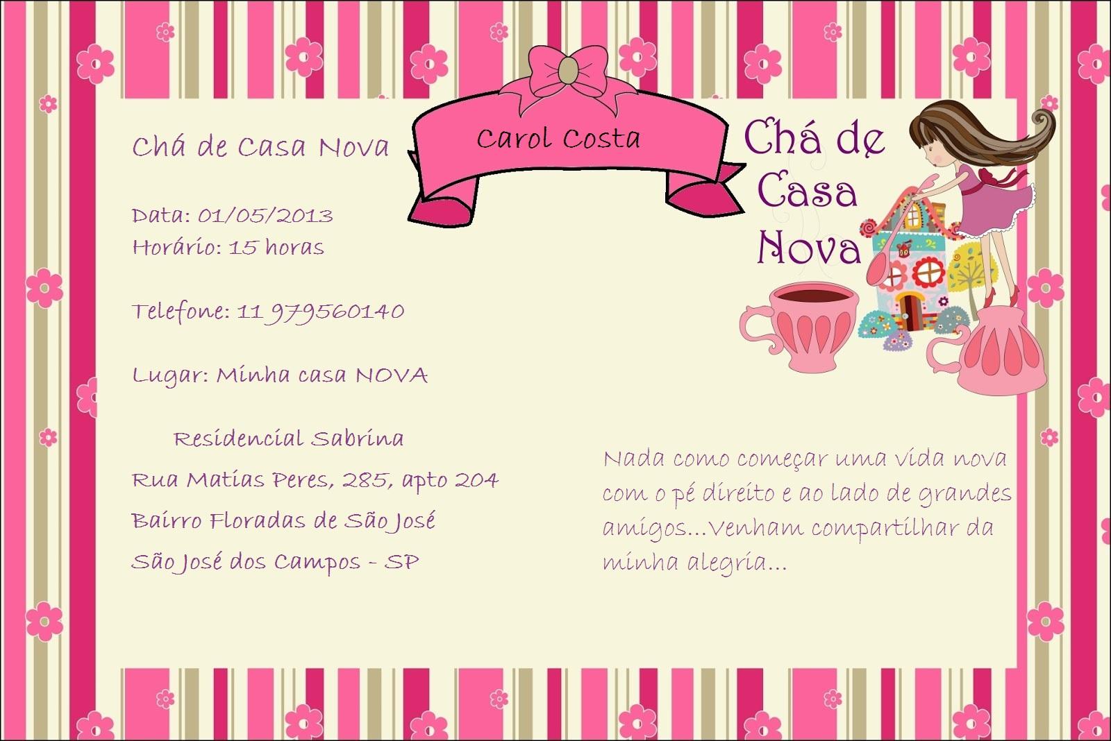 Extremamente Vida Nova Carol: Chá de Casa Nova RW78