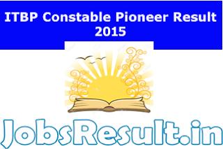 ITBP Constable Pioneer Result 2015