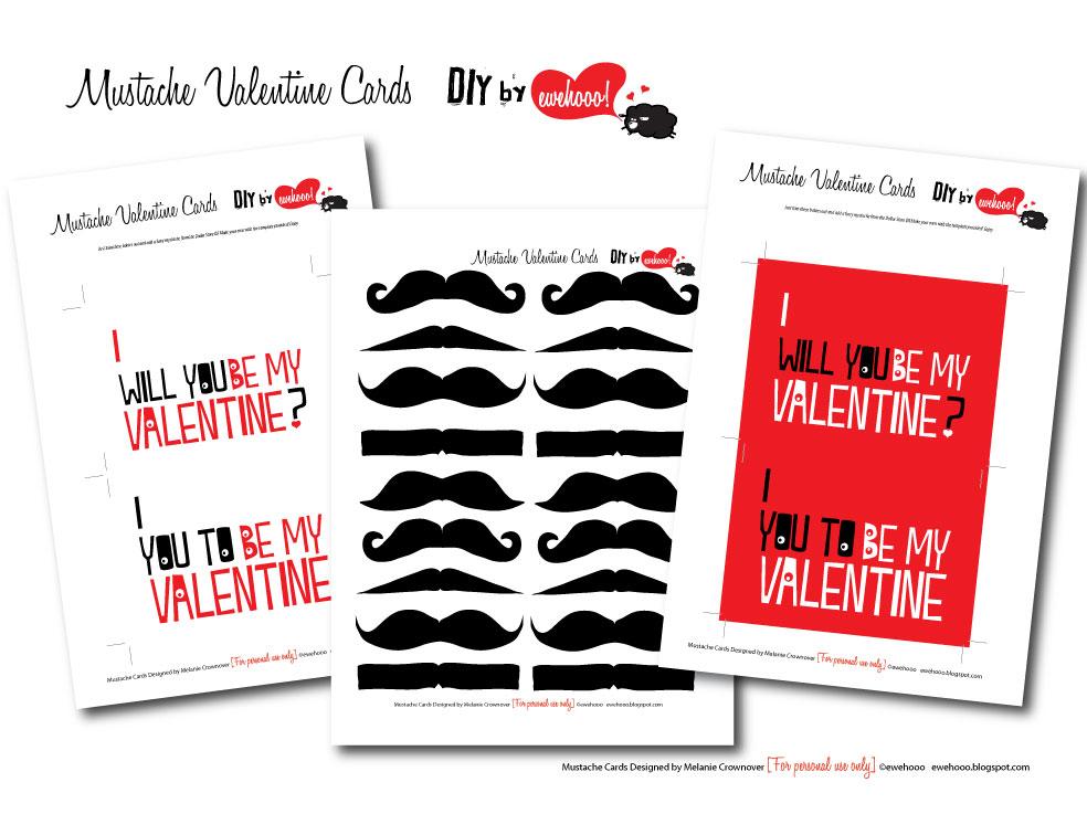 ewe hooo FREE Printable Mustache Valentine Cards – Mustache Valentine Cards