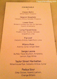 cocktail menu at RPM Italian