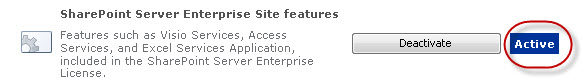 sharepoint 2010 enterprise site feature