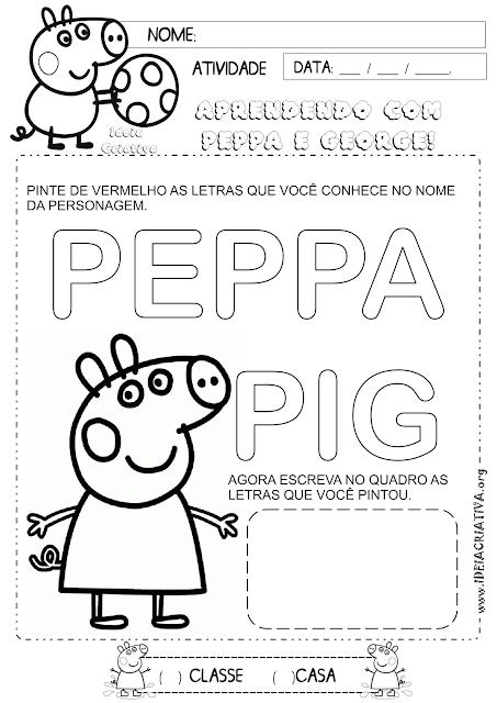 Atividade Volta às aulas Reconhecimento de letras Peppa Pig