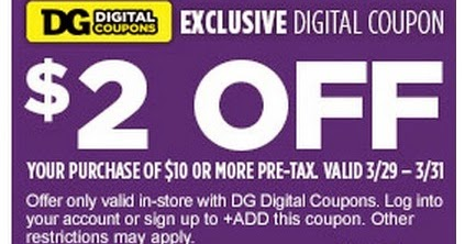 Dollar General Coupons Save 2 Off 10 March 29 31 Only