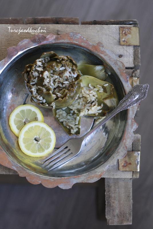 karczochy oliwa z oliwek ryż dolma zielenina