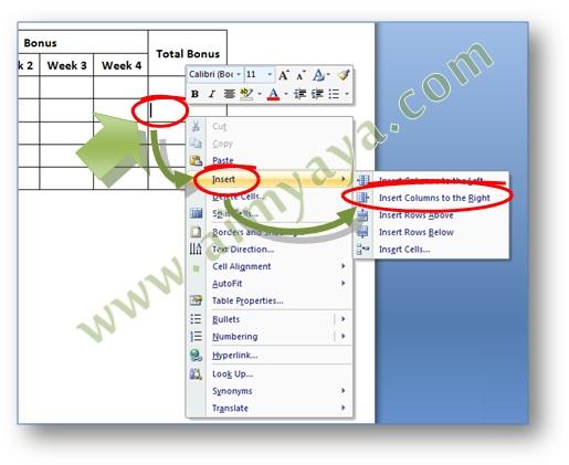 Gambar: Contoh cara menambah kolom tabel dengan menggunakan popup menu di Microsoft Word 2007