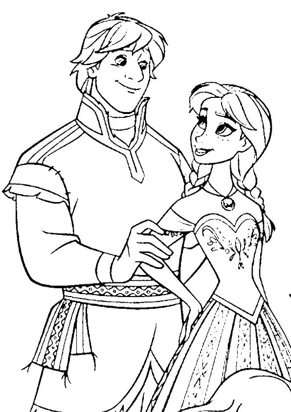 Anna y kristoff para colorear